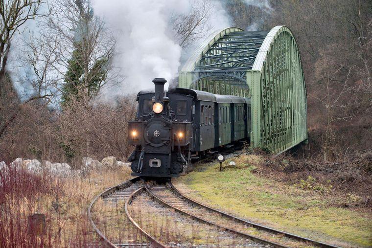 Schmalspurbahn, dampfende Museumsbahn Steyrtalbahn mit Dampflok, Steyr, Oberösterreich.