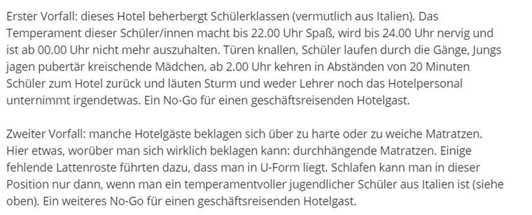 Schlechte Bewertung für Hotel in Berlin-Charlottenburg.