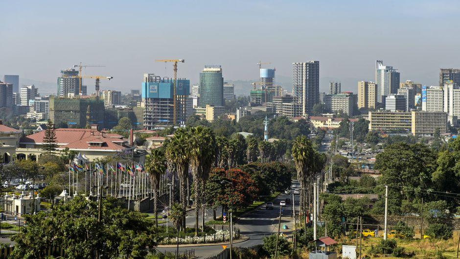 Das Stadtzentrum von Addis Abeba in Äthiopien.