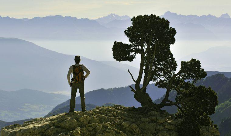 Ein Bergwanderer steht auf einem Aussichtspunkt und betrachtet das Panorama des Naturparks von Vercors.