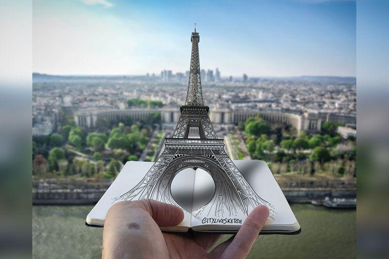 In Paris musste Pietro natürlich den Eiffelturm neu inszenieren in Form einer 3-D-Skizze.