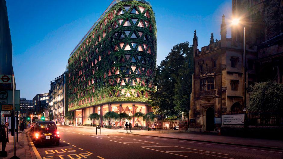 Fenster in Dreiecksform, voneinander durch begrünte Streben getrennt: So sieht der Entwurf der Architekten des Citicape House in London aus.
