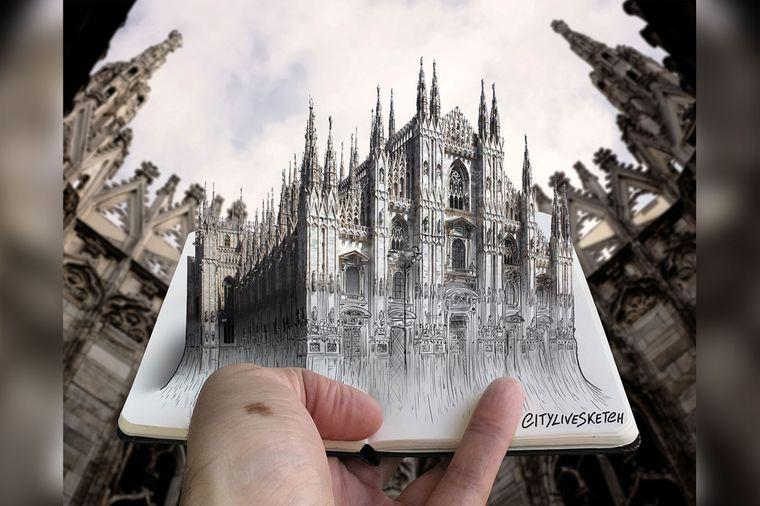 Der Dom von Mailand als 3-D-Skizze.