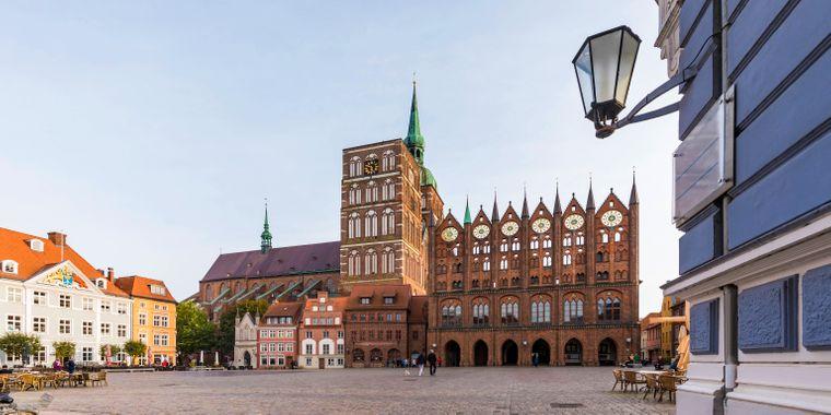 Die Altstadt von Stralsund in Mecklenburg-Vorpommern.
