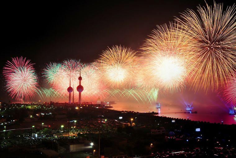 Feuerwerk über Kuwait-Stadt.