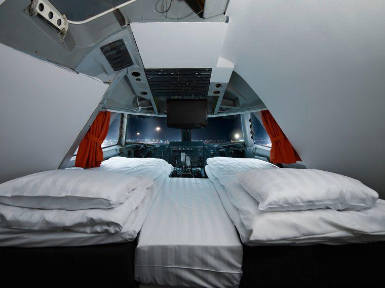 Das Jumbo-Hostel in Stockholm ist eine umgebaute Boeing 747-200. Luxuriös ist die Suite im Cockpit.