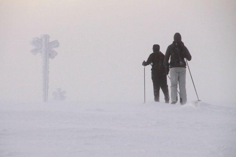 Schneeschuhwanderer laufen durch den Schnee in Lappland.