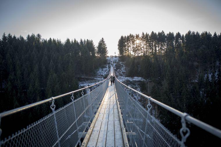 Deutschlands längste Hängeseilbrücke Geierlay ist 360m lang und 100m über dem Boden.