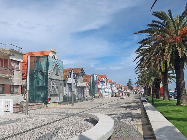 Zwischen Palmen und Strandhäusern kannst du in Costa Nova (Portugal) herrlich die Zeit verbummeln.