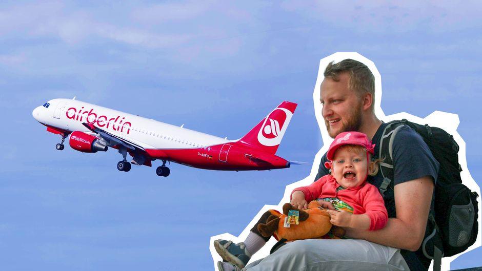 Alexander Müller (30) und seine Tochter Madita (2) erlebten das totale Air Berlin-Chaos.