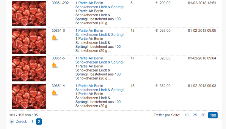 Die Zwei-Kilogramm-Tüten mit Air-Berlin-Schokoherzen erzielten hohe Preise bei der Insolvenzauktion.