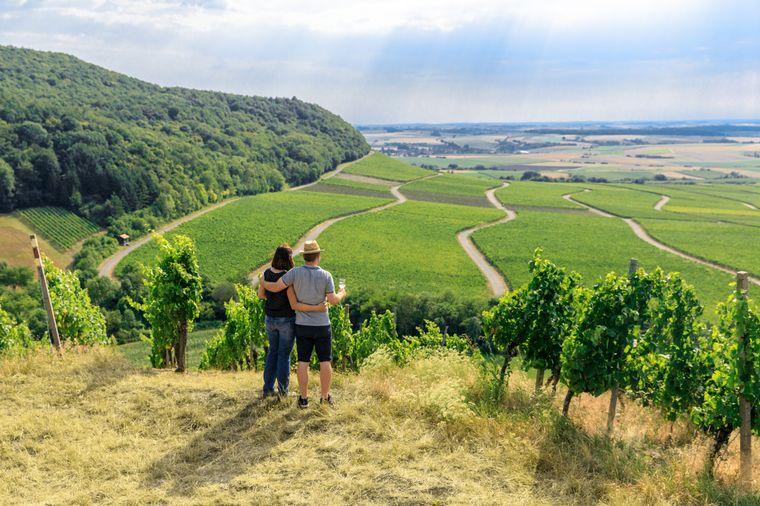 Auf dem 19 Kilometer langen Weinparadiesweg bieten sich immer wieder wunderbare Weitblicke über das Frankenland.