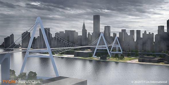 Design für eine Fahrradfahrer-Brücke in New York.
