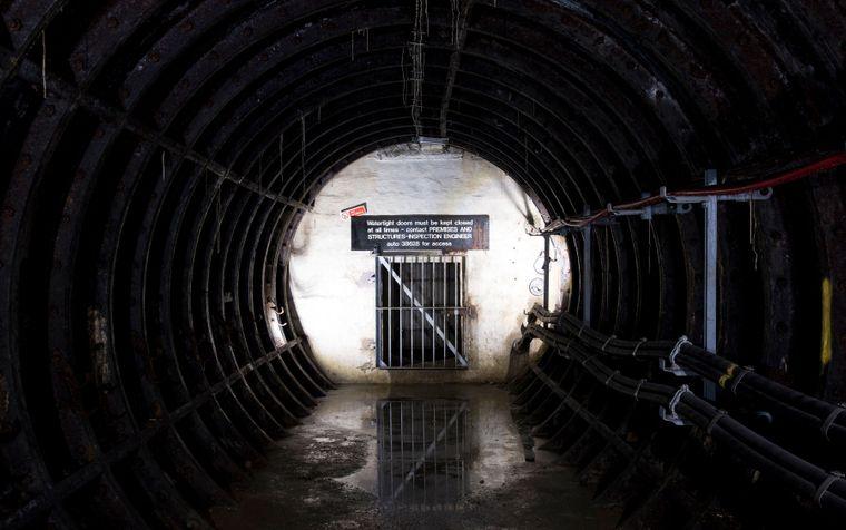 Versiegelter Tunneleingang zur Station King William Street.