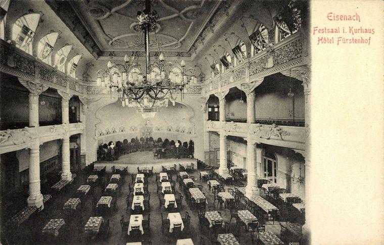 Eine alte Aufnahme aus dem Festsaal des Kurhauses und Hotels.