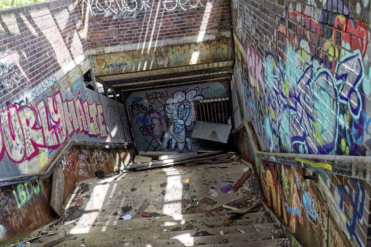 Treppen verwandeln sich in Stolperfallen: Seit dem Reichsbahnerstreik 1980 liegt der Bahnhof Siemensstadt brach.