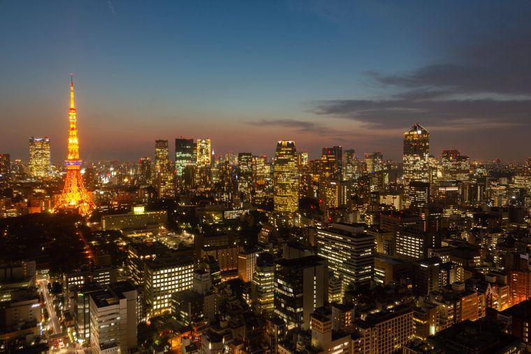Die Skyline von Tokio bei Nacht.