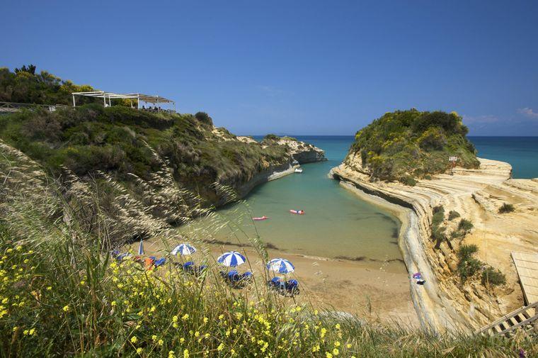 Der Strand Canal d'Amour bei Sidari auf Korfu.