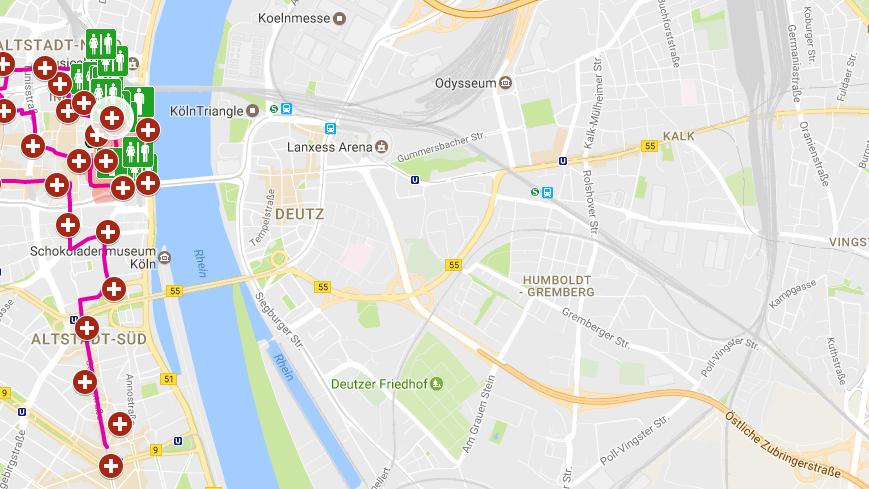 Mehr als sieben Kilometer lang ist der Zug am Rosenmontag in Köln. Auf unserer Karte ist er eingezeichnet sowie Erste-Hilfe-Stellen und Toiletten.