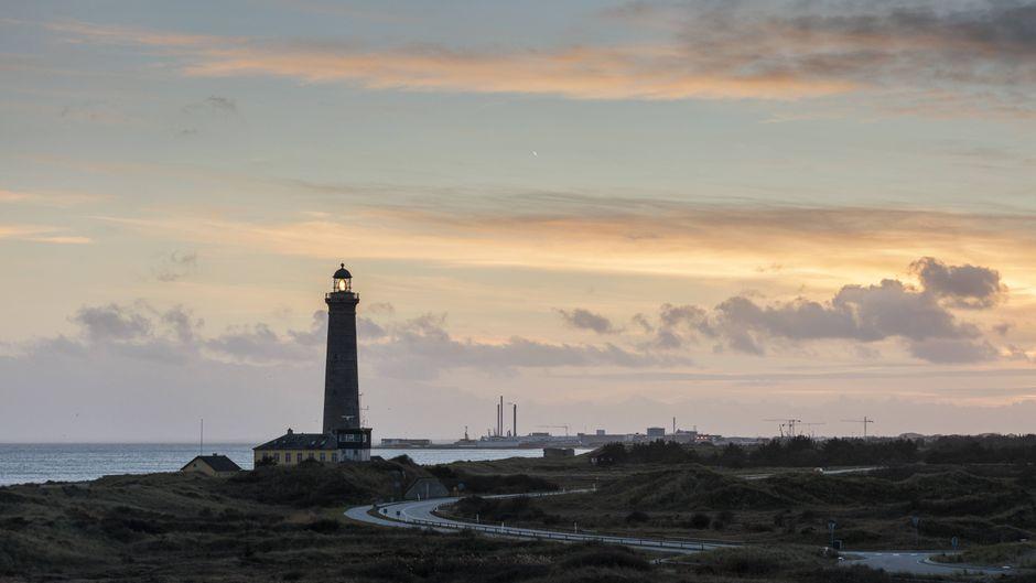 Der Leuchtturm von Skagen in Dänemark im Sonnenuntergang.
