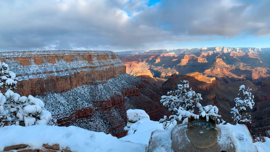 Schnee am Grand Canyon. Eine ganz andere Stimmung im berühmten Nationalpark.