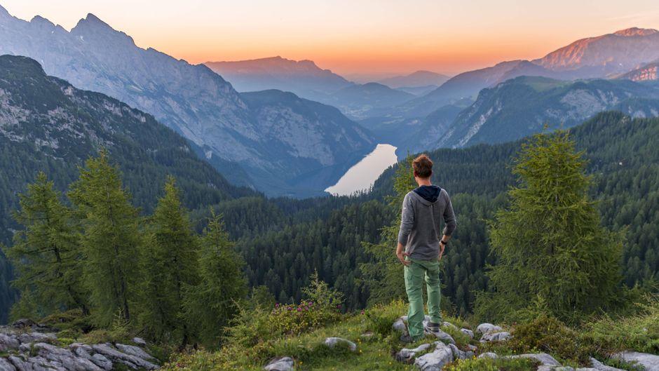 Mann blickt vom Feldkogel aus über das Bergpanorama mit Königssee, Watzmann und Funtenseetauern im Sonnenuntergang.