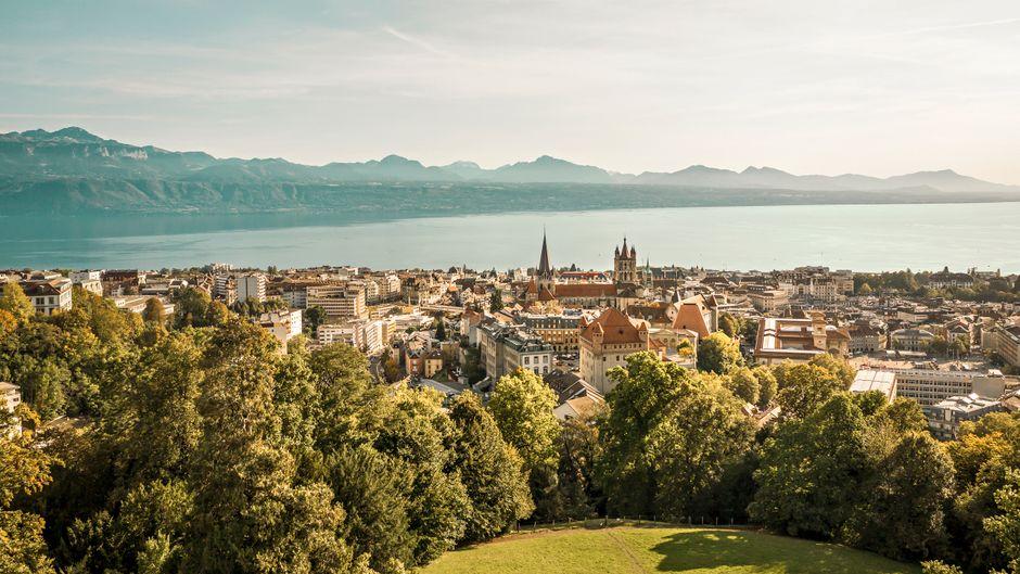 Aerial des Fondation Hermitage Parkes in Lausanne.Schweiz Tourismus / Giglio Pasqua