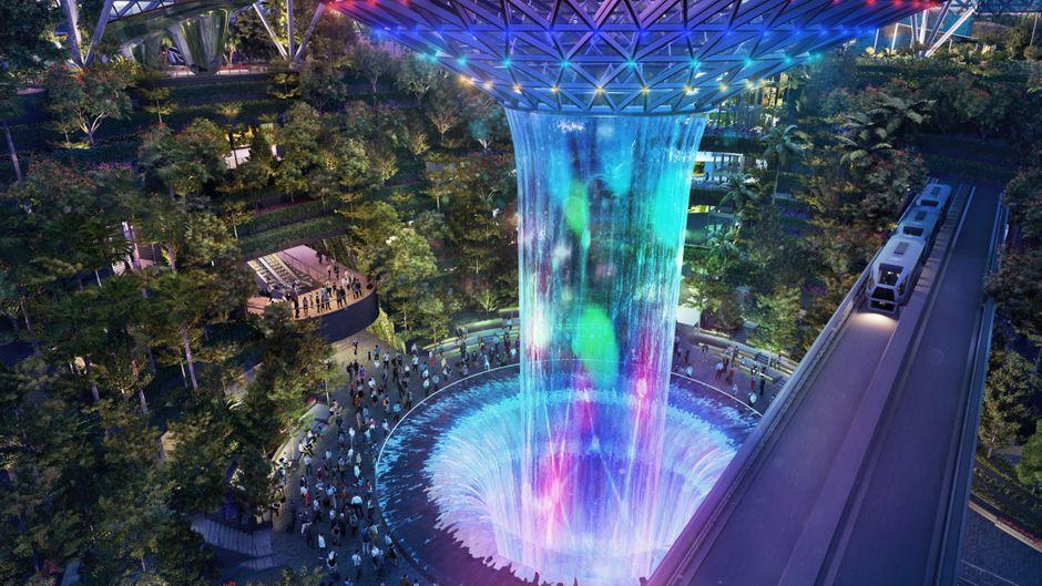 Wasserfall im geplanten Canopy Park im Flughafen Singapur.