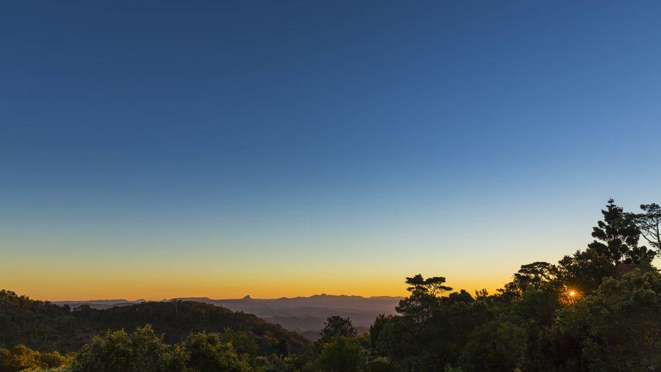 Sonnenuntergang überm Lamington-Nationalpark in Queensland – nur einige Kilometer entfernt liegt der Dschungelcamp-Drehort.