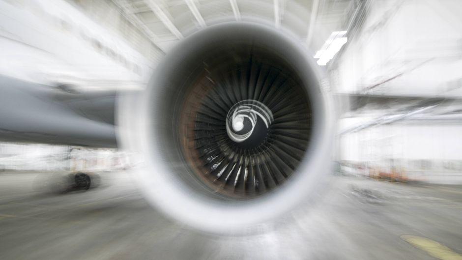 Eine Flugzeugturbine