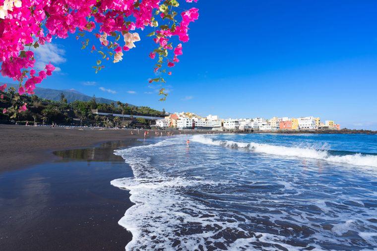 Puerto de la Cruz und schwarze StrandPlaya Jardin, Teneriffa