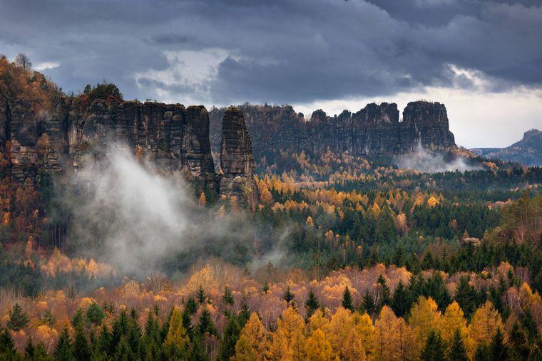 Das Elbsandsteingebirge in der Sächsischen Schweiz: Dieses Naturphänomen ist atemberaubend – zwischen den Nadelbäumen und den Felsfingern sorgen Laubbäume für abwechslungsreiche Farbkleckse.