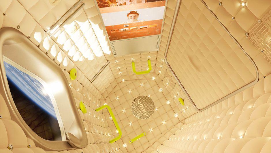 Innenausstattung auf der Axiom Space, die 2024 zum Hotel werden soll.