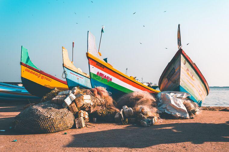 Fischerboote in Kerala.