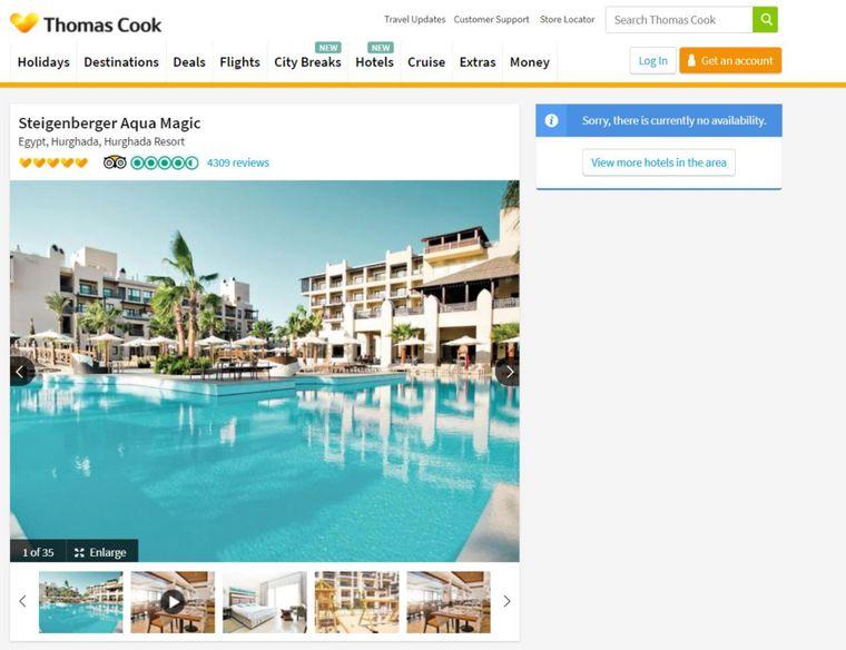 """Auf der englischen Buchungsseite des Reiseunternehmens Thomas Cook wird das Steigenberger Aqua Magic Hotel als """"nicht verfügbar"""" gelistet."""