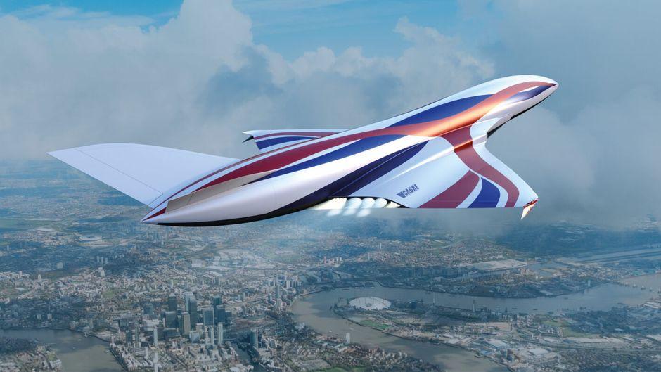 So könnte das Überschallflugzeug laut einer Vorlage von Reaction Engines aussehen.