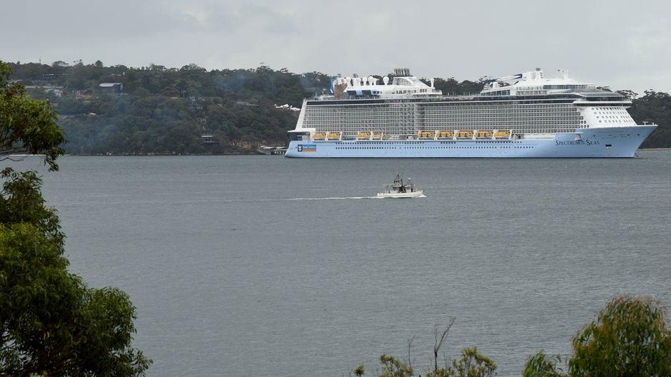 Ein Royal-Caribbean-Schiff schippert durch Sydney – vor der Corona-Krise.