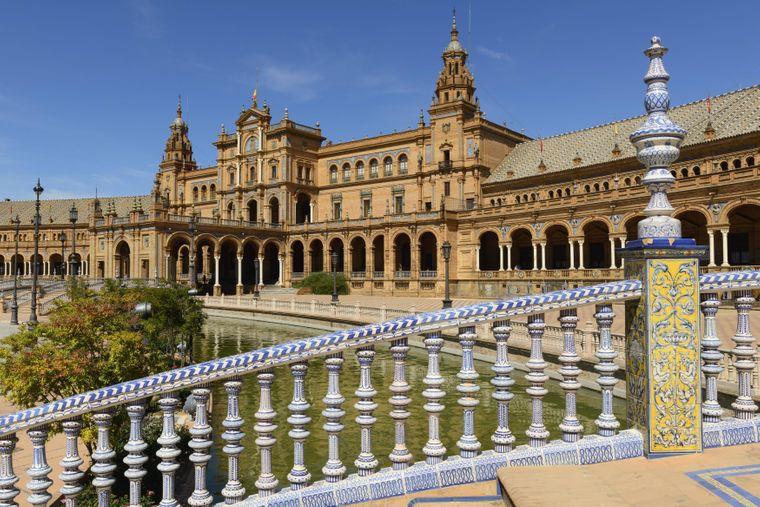 Die große Plaza de España in Sevilla: Dort wurde eine kurze Szene mit Padmé und Anakin gedreht.