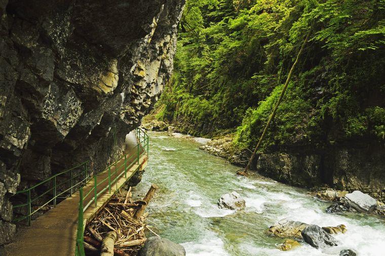 Die Breitachklamm in Oberstorf in Bayern ist Mitteleuropas tiefste Felsenschlucht.