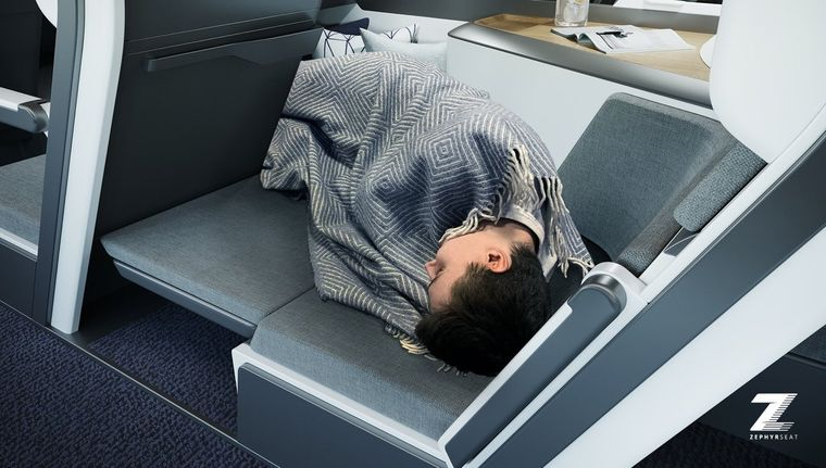 Das Unternehmen Zephyr Aerospace hat eine Sitz-Bett-Kombination für Flugzeuge entwickelt.