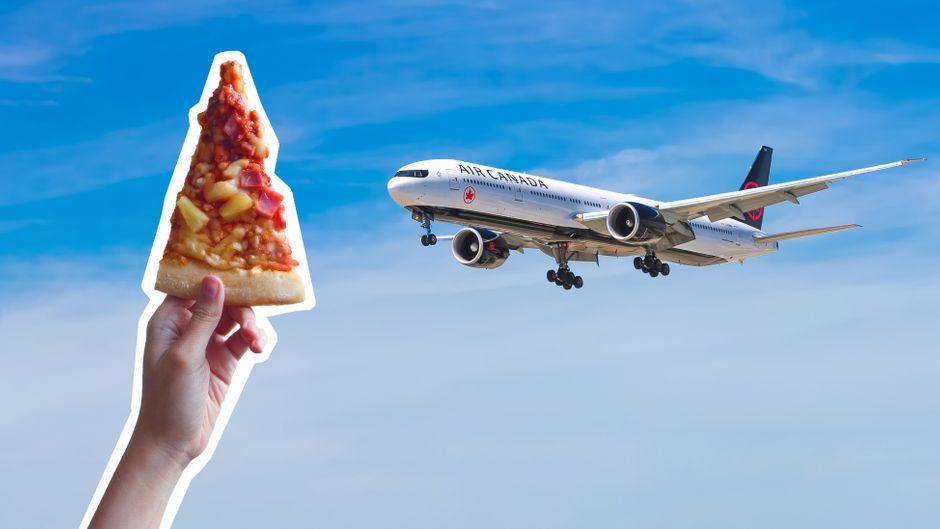 Pizza im Flieger.