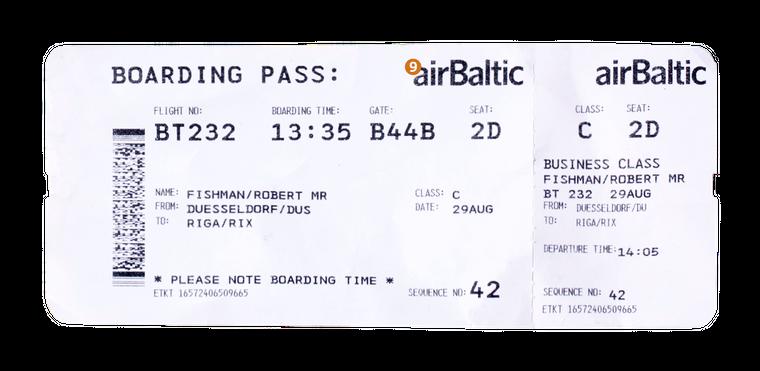 9. Das ist die Airline, mit der du fliegst. Die Airlines haben übrigens alle auch noch ein Kürzel, Air Baltic hat die Abkürzung BT.