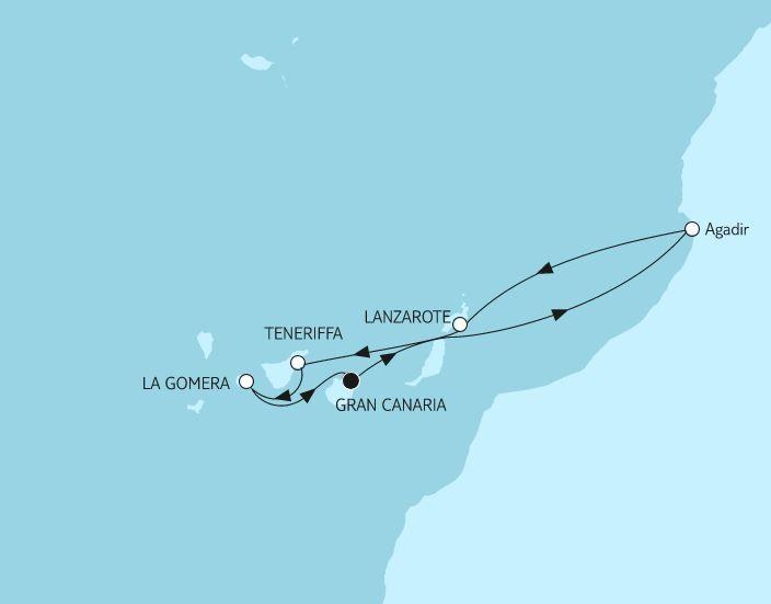 Reiseverlauf Kanaren mit Lanzarote.