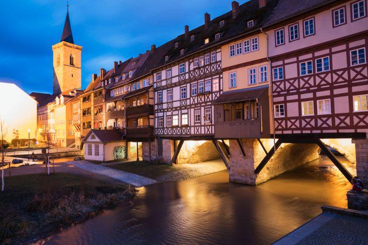 Krämerbrücke, Gera Fluss, Erfurt, Thüringen