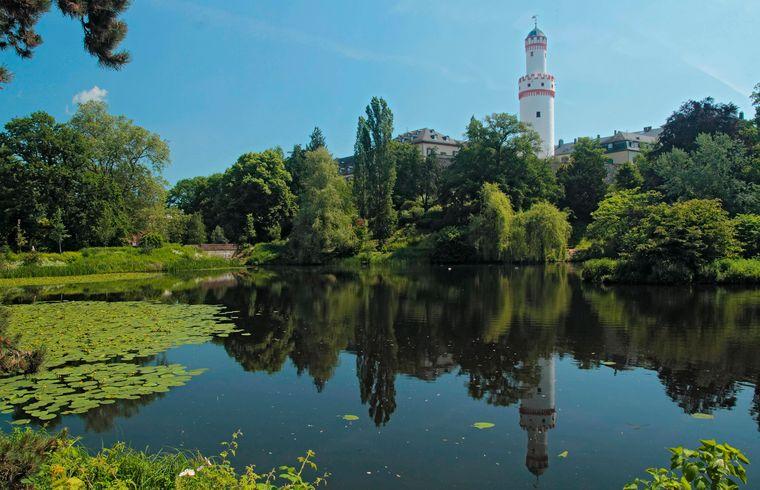 Der Weiher im Schlosspark Bad Homburg in Hessen.