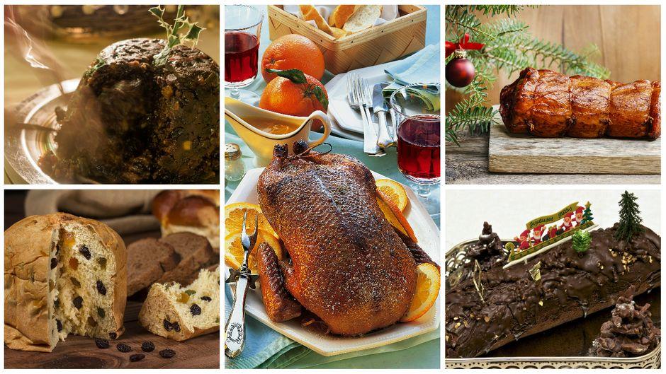 Plumpudding, Panettone, Ente à l'Orange, Weihnachtsschinken und Bûche de Noël: Weihnachtliche Gerichte, die außerhalb von Deutschland auf den Tisch kommen.