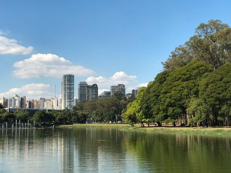 São Paulo ist eine Stadt der Kontraste: Vor dir ein See, um dich herum ein riesiger Park – und im Hintergrund die Hochhaus-Skyline.
