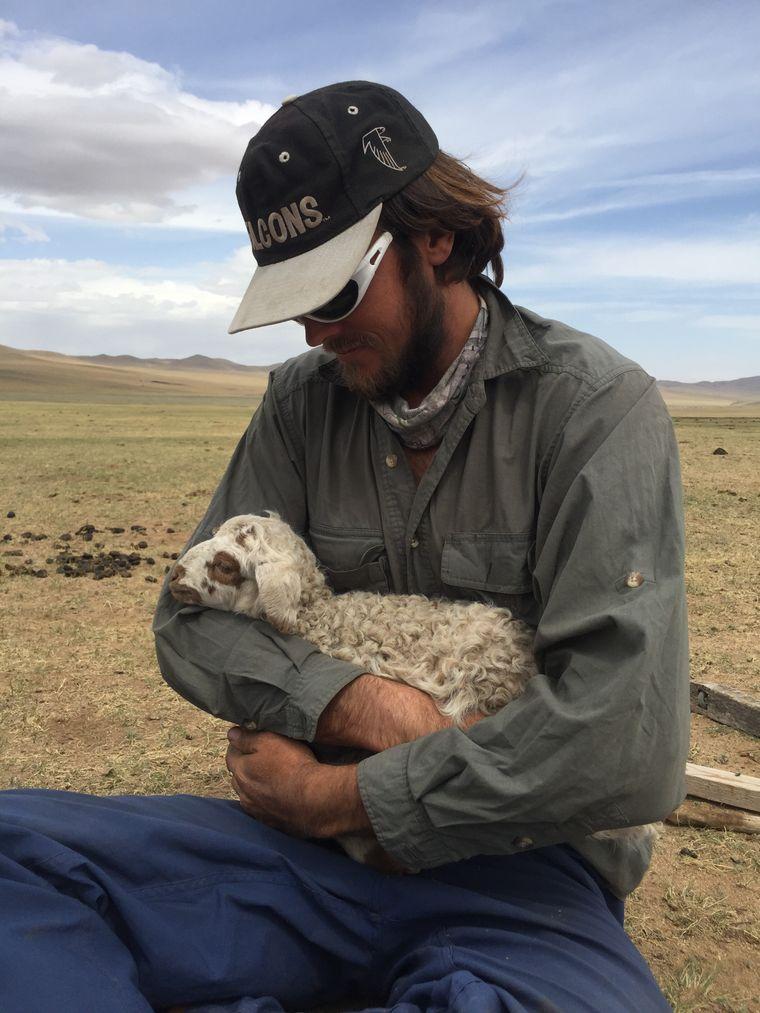 Als Gast bei Einheimischen half Falcon dabei, die Schafe zu hüten.