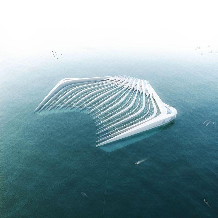 So könnte sie aussehen: Die Plattform soll 400 Meter lang sein und Plastik aus den Meeren fischen.