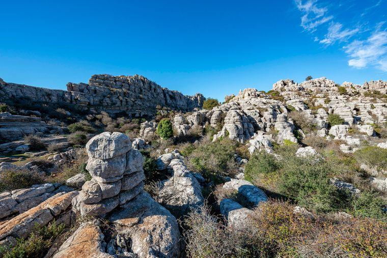 Felsformationen aus Kalkstein im Naturschutzgebiet El Torcal.